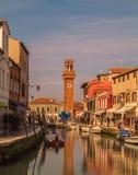Construções e a torre de Bell em Murano Fotos de Stock Royalty Free