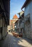 Construções e turistas idosos na cidade velha em Tallinn Imagens de Stock Royalty Free