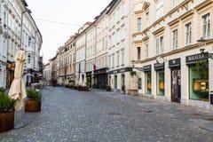 Construções em Ljubljana na manhã Foto de Stock Royalty Free