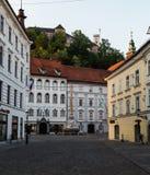 Construções em Ljubljana na manhã Imagem de Stock