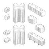 Construções isométricas da moradia ilustração royalty free