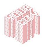 Construções isométricas sob a forma de seu texto da cidade Ilustração isométrica do vetor Casas dos bens imobiliários?, planos pa Fotos de Stock Royalty Free
