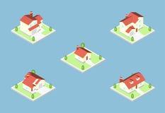 Construções isométricas tridimensionais da vila, ícone dos bens imobiliários Fotografia de Stock Royalty Free