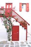 Construções locais na cidade de Mykonos, Grécia Imagens de Stock