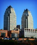 Construções modernas da cidade de Dnipro fotos de stock royalty free