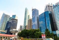 Construções na cidade de Singapura, Singapura - 13 de setembro de 2014 Fotos de Stock Royalty Free