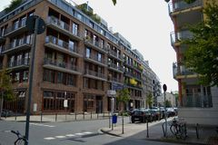 Construções na rua em Francoforte Foto de Stock Royalty Free