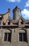 Construções no centro da cidade histórico de Bruges, Bélgica fotografia de stock