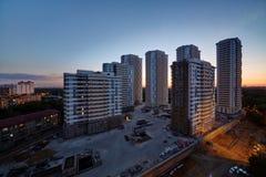 Construções sob a construção do complexo residencial Imagem de Stock