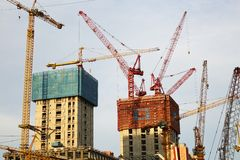 Construções sob a construção, Pequim de CBD Fotografia de Stock Royalty Free