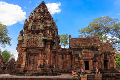 Construções surpreendentes no templo de Banteay Srey, Camboja Foto de Stock Royalty Free