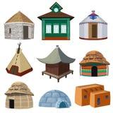 Construções tradicionais e casas pequenas de nações diferentes do mundo ilustração do vetor