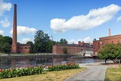 Construções velhas da fábrica em Tampere, Finlandia Foto de Stock Royalty Free