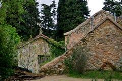 Construções velhas e ruínas no meio de uma grande floresta fotos de stock