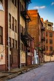 Construções velhas na alameda velha da cidade em Baltimore, Maryland fotografia de stock royalty free