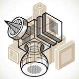 A constru??o trigonom?tricamente abstrata, vector o projeto dimensional ilustração royalty free