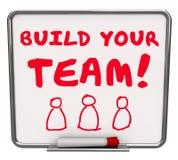 Construa seu varrão das palavras da missão de Team Workers Employees Common Goal Fotos de Stock Royalty Free