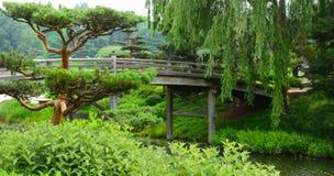 Construa uma ponte sobre o cruzamento sobre um rio de fluxo que conduz a um Garde japonês fotos de stock