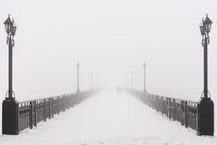 Construa uma ponte sobre a paisagem da cidade no dia de inverno nevado nevoento Fotos de Stock