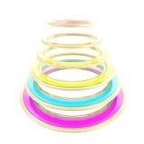 Construcción abstracta hecha de círculos coloreados del arco iris Foto de archivo libre de regalías