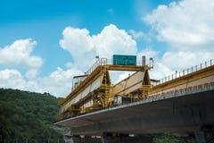 Construcción, autopista constructiva del puente del listón Foto de archivo