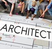 Construcción Concep de Architecture Design Infrastructure del arquitecto Foto de archivo libre de regalías