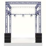 Construcción de acero de la etapa del evento con el altavoz en blanco Fotografía de archivo libre de regalías