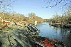 Construcción de Bikeway del río de Blackstone Foto de archivo