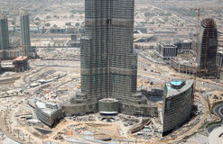 Construcción de Burj Dubai (Burj Khalifa) Foto de archivo libre de regalías