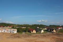 Construcción de cabañas en el campo Imagen de archivo