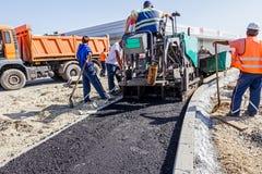 Construcción de carreteras Asphalt Spreader Imagenes de archivo
