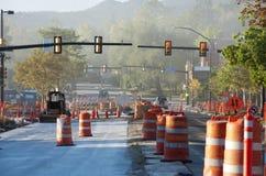 Construcción de carreteras con polvo imagen de archivo