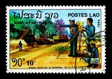 Construcción de carreteras, 9no aniversario del serie de la república, circa 1984 Fotografía de archivo libre de regalías