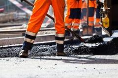 Construcción de carreteras, trabajador fotos de archivo
