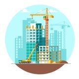 Construcción de casas residenciales Diseño de concepto del emplazamiento de la obra Ejemplo plano del vector del estilo Fotos de archivo libres de regalías