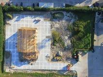 Construcción de edificios comercial de la casa de madera aérea foto de archivo