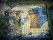 Construcción de edificios comercial de la casa de madera aérea imagen de archivo libre de regalías