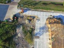 Construcción de edificios comercial de la casa de madera aérea foto de archivo libre de regalías