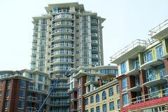 Construcción de edificios de la ciudad A.C. imagenes de archivo