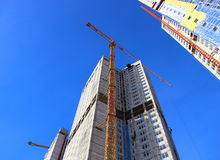 Construcción de edificios residenciales Foto de archivo libre de regalías