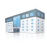 Construcción de escuelas con la reflexión y la entrada stock de ilustración