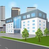 Construcción de escuelas con la reflexión y la entrada ilustración del vector