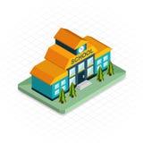 Construcción de escuelas Icono isométrico del diseño del pixel 3d libre illustration