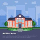 Construcción de escuelas plana en ciudad grande stock de ilustración