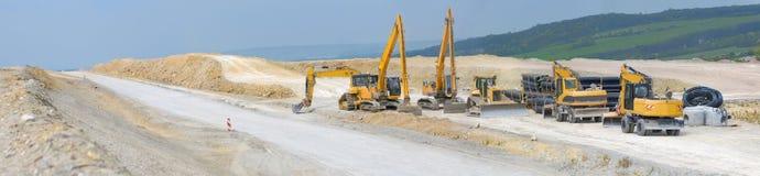 Construcción de la autopista, panorama imagenes de archivo