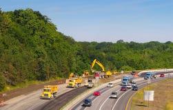 Construcción de la autopista sin peaje Foto de archivo libre de regalías