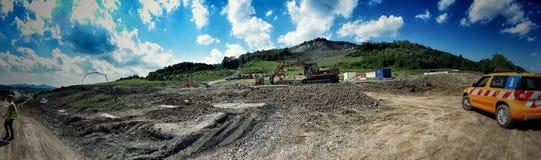 Construcción de la carretera en Czechia Imágenes de archivo libres de regalías