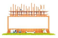 Construcción de la casa. Aislado. 3D Foto de archivo