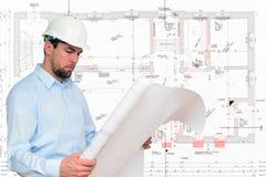 Construcción de la casa del planeamiento del ingeniero del encargado de la construcción fotografía de archivo libre de regalías