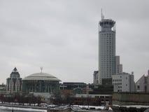 Construcción de la casa de la música y de las colinas rojas Moscú del hotel foto de archivo